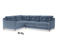 Large Left Hand Slim Jim Corner Sofa in Winter Sky clever velvet