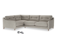 Large Left Hand Slim Jim Corner Sofa in Grey Daybreak Clever Laundered Linen