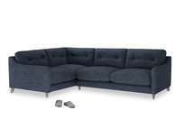 Large Left Hand Slim Jim Corner Sofa in Selvedge Blue Clever Laundered Linen