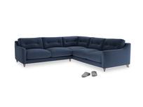Even Sided Slim Jim Corner Sofa in Navy blue brushed cotton