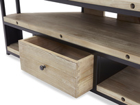 Hercule Industrial Corner TV Unit drawer open