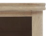 Telly Flapper oak parquet TV stand corner detail