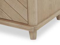 Telly Flapper oak parquet TV stand leg detail