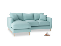 Large left hand Squishmeister Chaise Sofa in Adriatic washed cotton linen