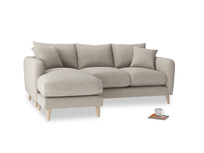 Large left hand Squishmeister Chaise Sofa in Birch wool
