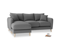 Large left hand Squishmeister Chaise Sofa in Ash washed cotton linen