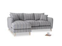 Large left hand Squishmeister Chaise Sofa in Brittany Blue french stripe