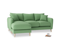 Large left hand Squishmeister Chaise Sofa in Clean green Brushed Cotton