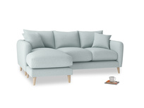 Large left hand Squishmeister Chaise Sofa in Duck Egg vintage linen