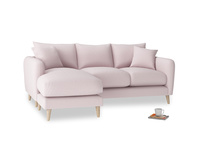 Large left hand Squishmeister Chaise Sofa in Dusky blossom washed cotton linen