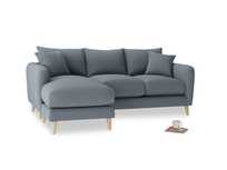 Large left hand Squishmeister Chaise Sofa in Blue Storm washed cotton linen