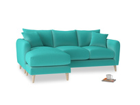 Large left hand Squishmeister Chaise Sofa in Fiji Clever Velvet