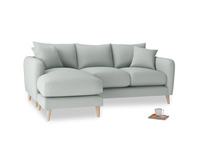 Large left hand Squishmeister Chaise Sofa in French blue brushed cotton