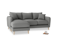 Large left hand Squishmeister Chaise Sofa in French Grey brushed cotton
