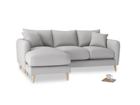 Large left hand Squishmeister Chaise Sofa in Flint brushed cotton