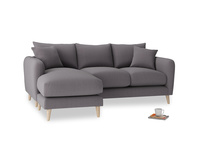 Large left hand Squishmeister Chaise Sofa in Graphite grey clever cotton