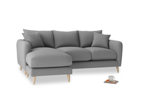 Large left hand Squishmeister Chaise Sofa in Gun Metal brushed cotton