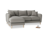 Large left hand Squishmeister Chaise Sofa in Monsoon grey clever cotton