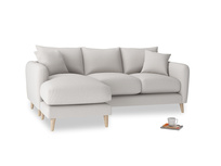 Large left hand Squishmeister Chaise Sofa in Lunar Grey washed cotton linen