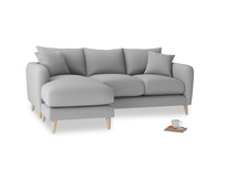 Large left hand Squishmeister Chaise Sofa in Magnesium washed cotton linen