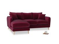 Large left hand Squishmeister Chaise Sofa in Merlot Plush Velvet
