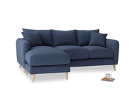 Large left hand Squishmeister Chaise Sofa in Navy blue brushed cotton