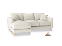 Large left hand Squishmeister Chaise Sofa in Oat brushed cotton