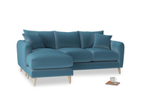 Large left hand Squishmeister Chaise Sofa in Old blue Clever Deep Velvet