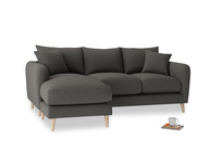 Large left hand Squishmeister Chaise Sofa in Old Charcoal brushed cotton