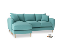 Large left hand Squishmeister Chaise Sofa in Peacock brushed cotton