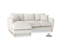 Large left hand Squishmeister Chaise Sofa in Oyster white clever linen