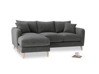Large left hand Squishmeister Chaise Sofa in Shadow Grey wool