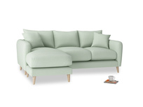 Large left hand Squishmeister Chaise Sofa in Soft Green Clever Softie
