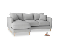 Large left hand Squishmeister Chaise Sofa in Pewter Clever Softie