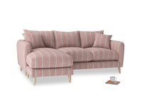 Large left hand Squishmeister Chaise Sofa in Red french stripe