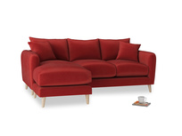 Large left hand Squishmeister Chaise Sofa in Rusted Ruby Vintage Velvet