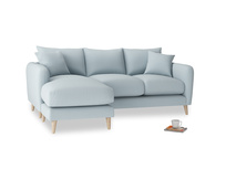 Large left hand Squishmeister Chaise Sofa in Scandi blue clever cotton