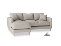 Large left hand Squishmeister Chaise Sofa in Sailcloth grey Clever Woolly Fabric