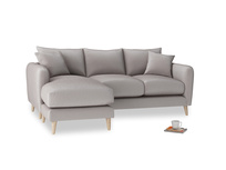 Large left hand Squishmeister Chaise Sofa in Soothing grey vintage velvet