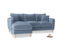 Large left hand Squishmeister Chaise Sofa in Winter Sky clever velvet