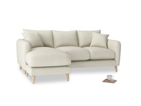 Large left hand Squishmeister Chaise Sofa in Stone Vintage Linen