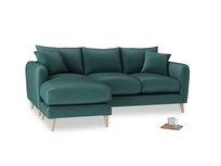 Large left hand Squishmeister Chaise Sofa in Timeless teal vintage velvet