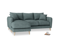 Large left hand Squishmeister Chaise Sofa in Anchor Grey Clever Laundered Linen