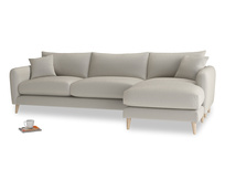 XL Right Hand  Squishmeister Chaise Sofa in Smoky Grey clever velvet