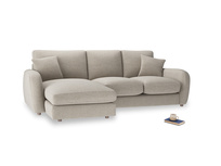 Large left hand Easy Squeeze Chaise Sofa in Birch wool