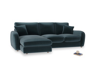 Large left hand Easy Squeeze Chaise Sofa in Bluey Grey Clever Deep Velvet
