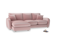Large left hand Easy Squeeze Chaise Sofa in Chalky Pink vintage velvet
