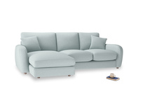 Large left hand Easy Squeeze Chaise Sofa in Duck Egg vintage linen