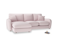 Large left hand Easy Squeeze Chaise Sofa in Dusky blossom washed cotton linen