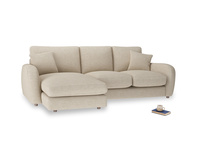 Large left hand Easy Squeeze Chaise Sofa in Flagstone clever woolly fabric